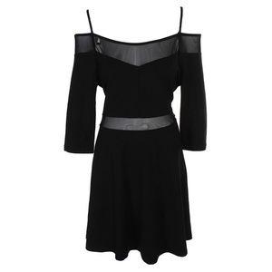 French Connection Black Cold-Shoulder Fit Dress